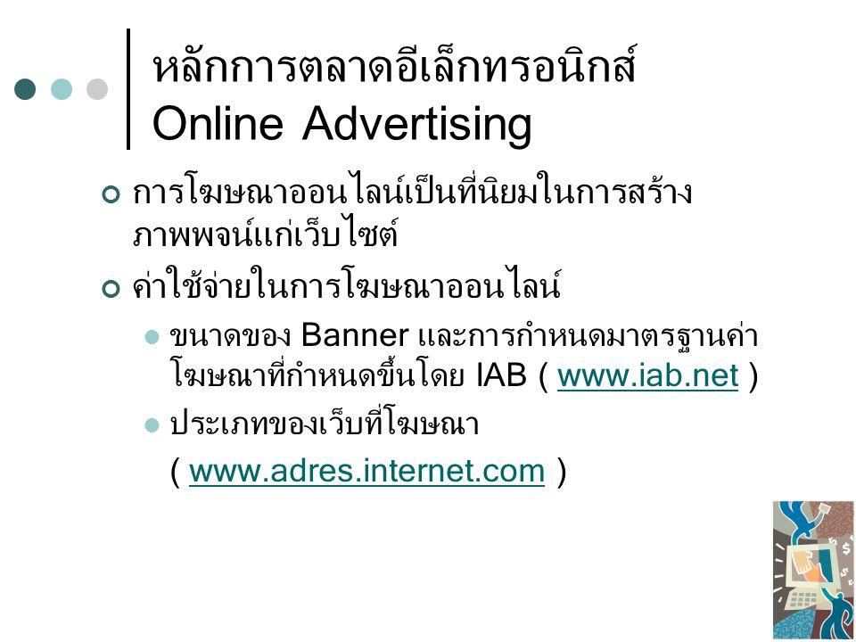 หลักการตลาดอีเล็กทรอนิกส์ Online Advertising