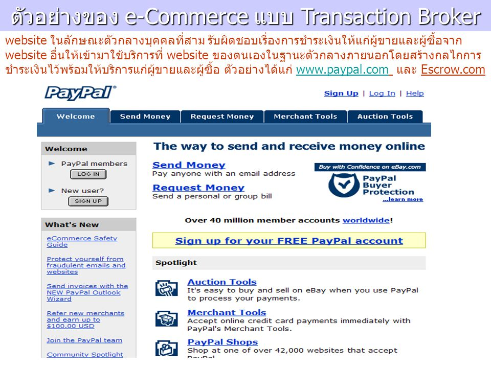 ตัวอย่างของ e-Commerce แบบ Transaction Broker