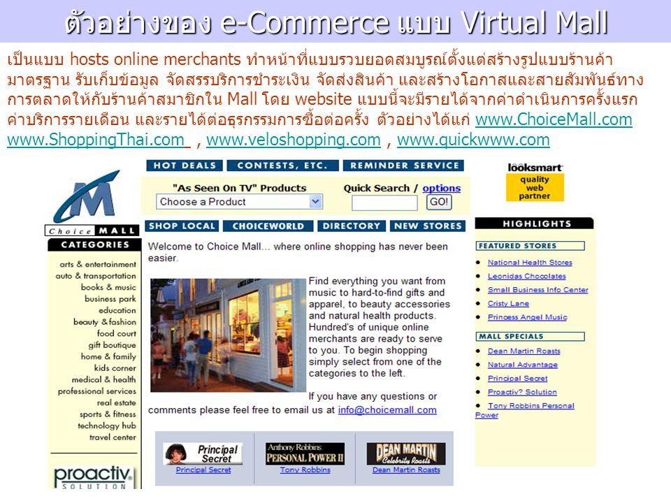 ตัวอย่างของ e-Commerce แบบ Virtual Mall