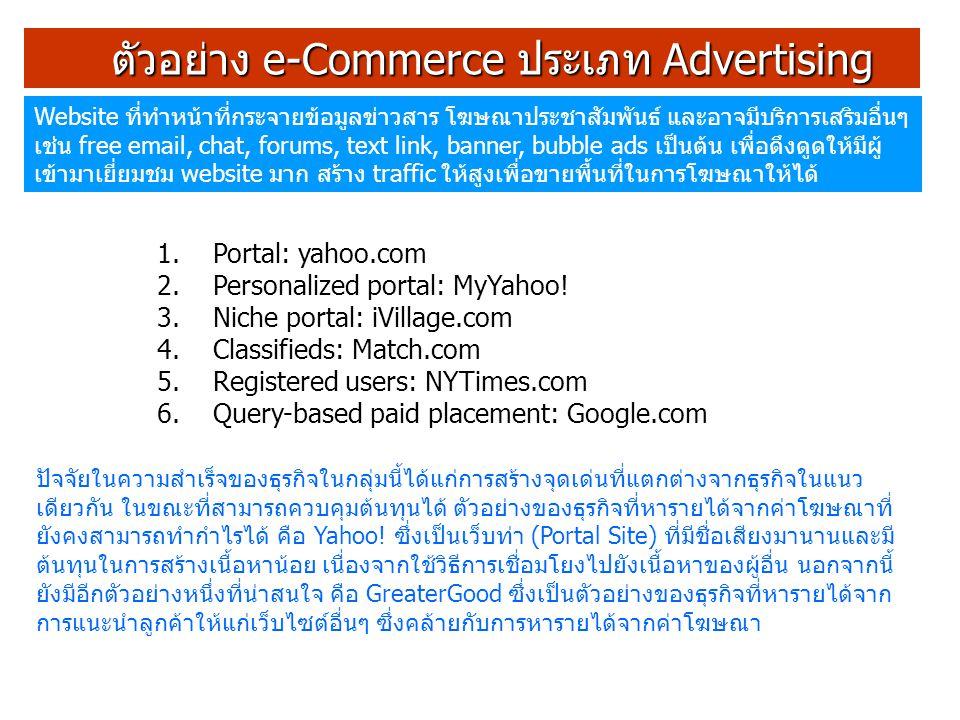 ตัวอย่าง e-Commerce ประเภท Advertising