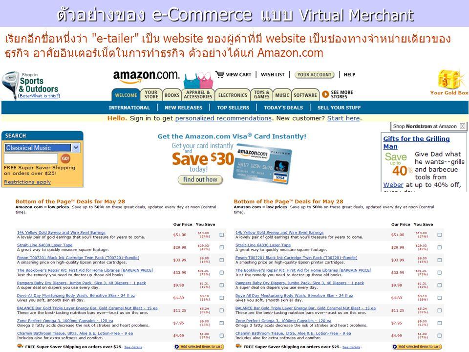 ตัวอย่างของ e-Commerce แบบ Virtual Merchant