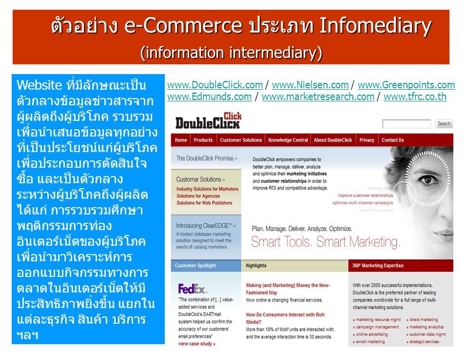 ตัวอย่าง e-Commerce ประเภท Infomediary