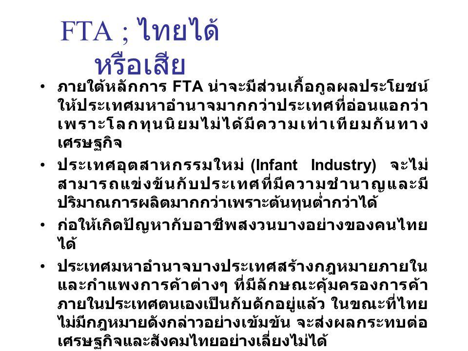 FTA ; ไทยได้หรือเสีย