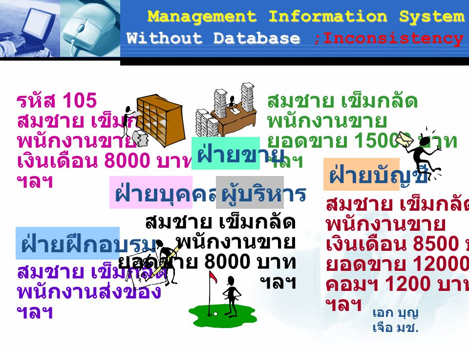 Management Information System Without Database ;Inconsistency