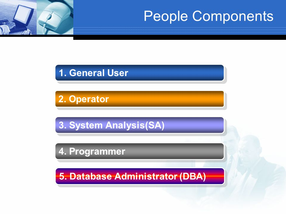 People Components 1. General User 2. Operator 3. System Analysis(SA)