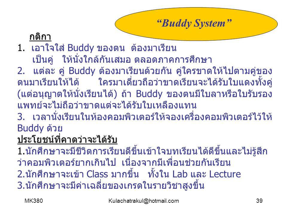 Buddy System กติกา 1. เอาใจใส่ Buddy ของตน ต้องมาเรียน