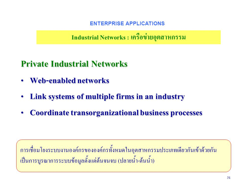 ENTERPRISE APPLICATIONS Industrial Networks : เครือข่ายอุตสาหกรรม