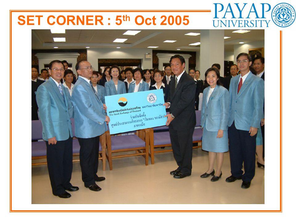 SET CORNER : 5th Oct 2005