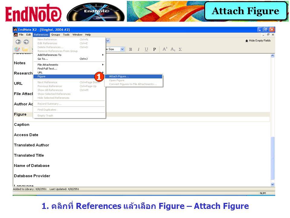 1. คลิกที่ References แล้วเลือก Figure – Attach Figure