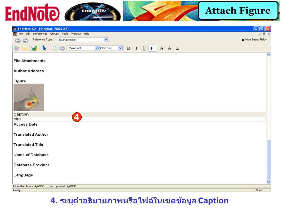 4. ระบุคำอธิบายภาพหรือไฟล์ในเขตข้อมูล Caption