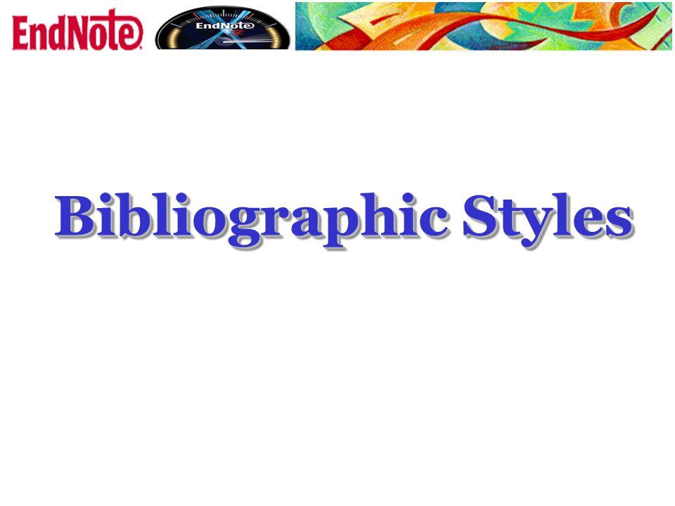 Bibliographic Styles