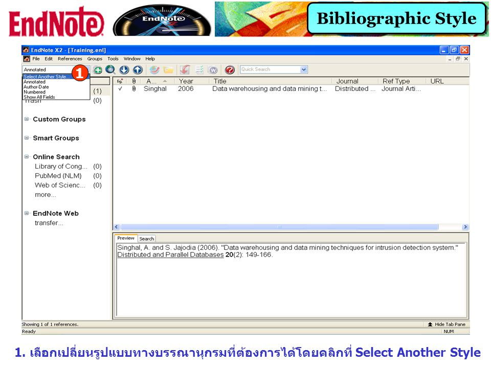Bibliographic Style 1. 1.