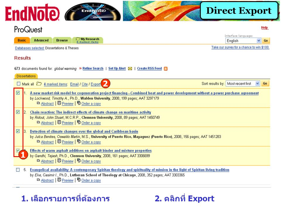 Direct Export 2 1 1. เลือกรายการที่ต้องการ 2. คลิกที่ Export