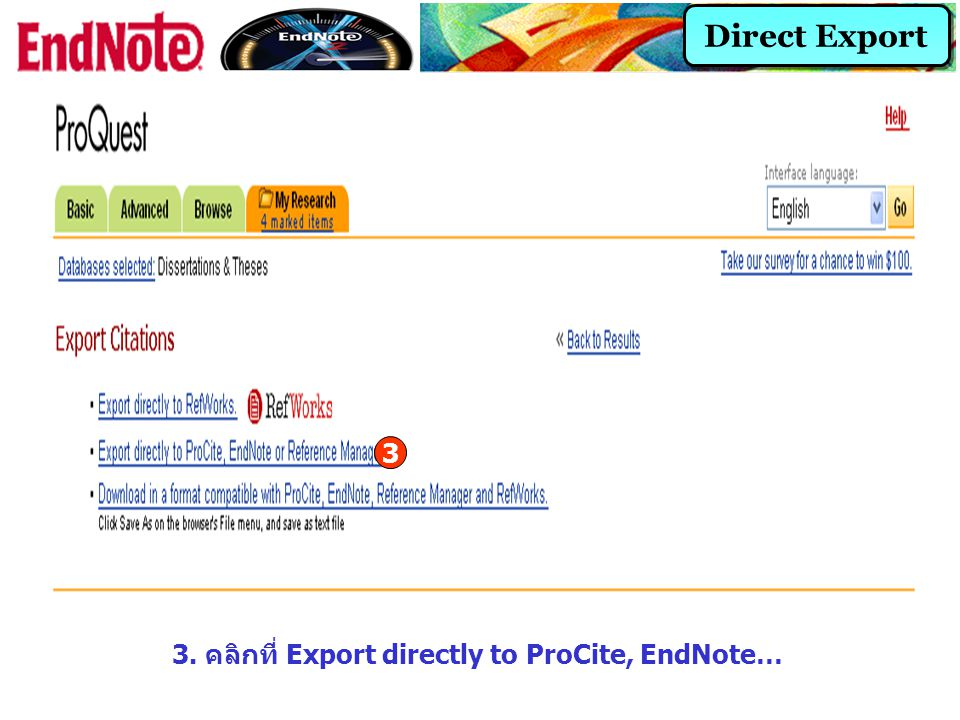 3. คลิกที่ Export directly to ProCite, EndNote…