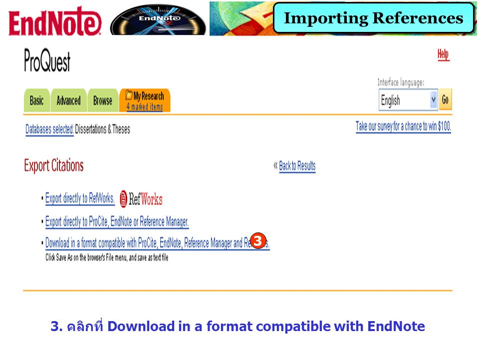 3. คลิกที่ Download in a format compatible with EndNote
