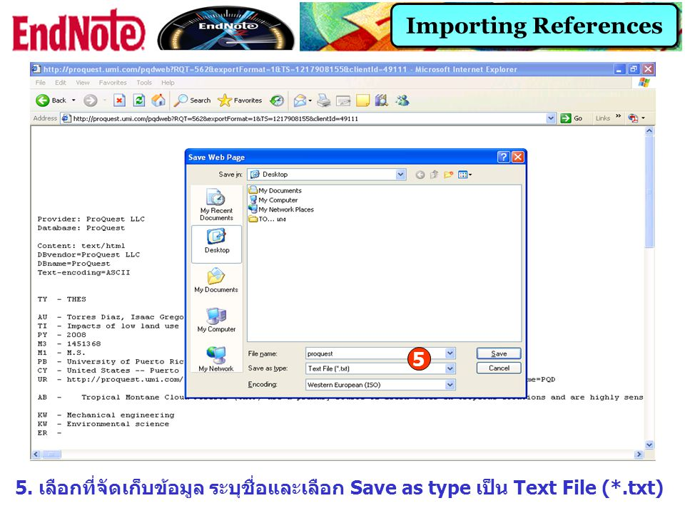 Importing References 5. 5.