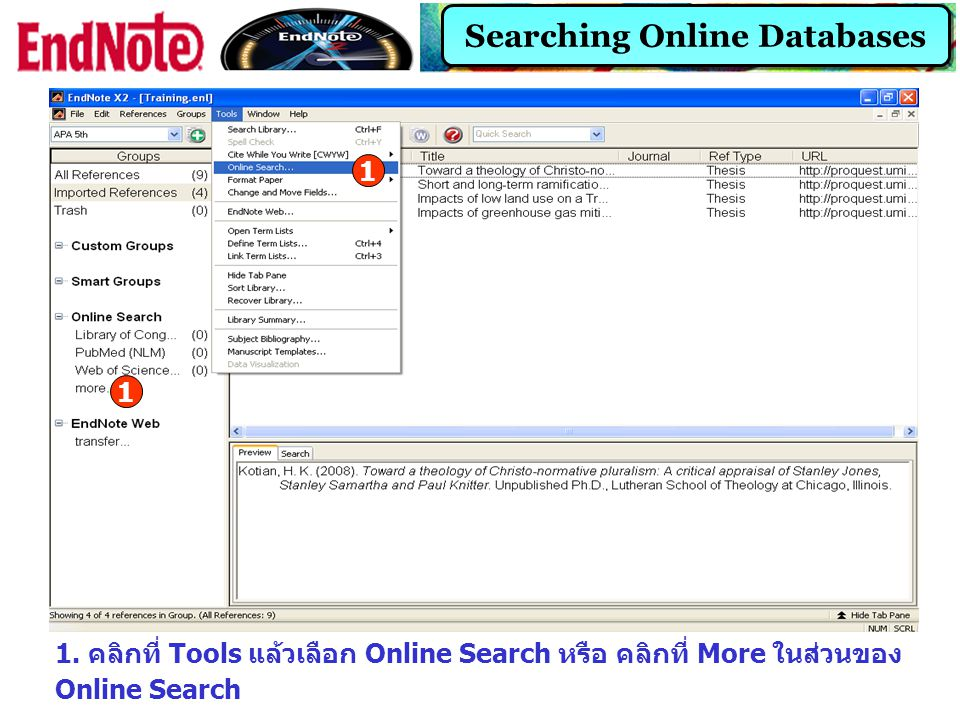 Searching Online Databases