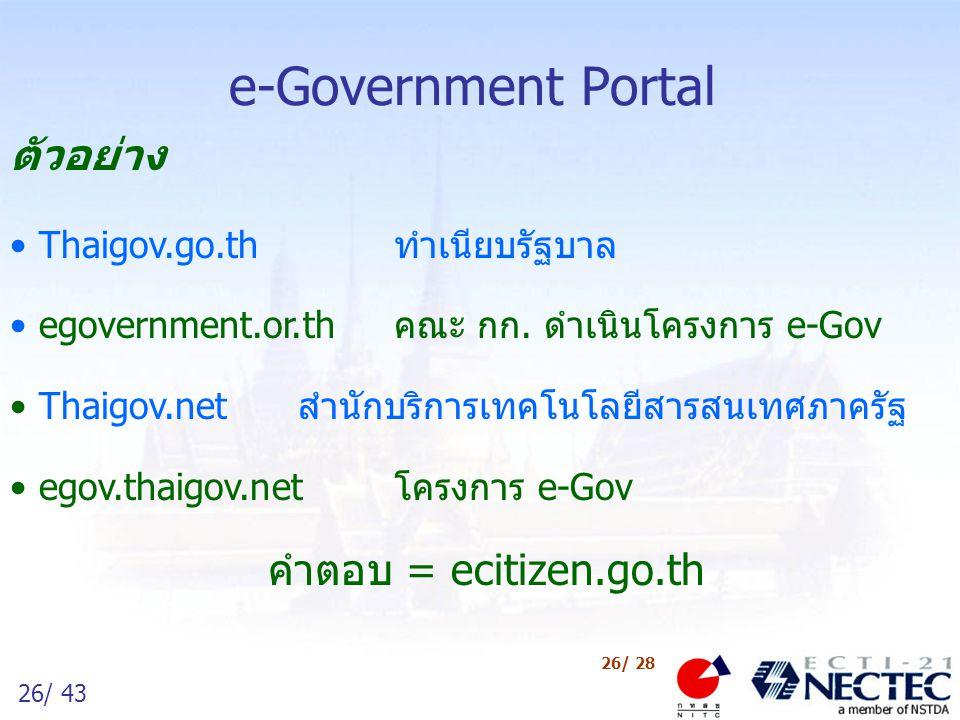 e-Government Portal ตัวอย่าง Thaigov.go.th ทำเนียบรัฐบาล