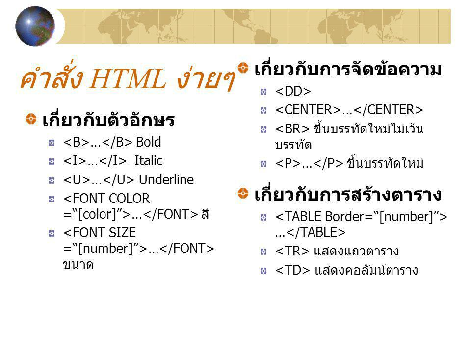 คำสั่ง HTML ง่ายๆ เกี่ยวกับการจัดข้อความ เกี่ยวกับตัวอักษร