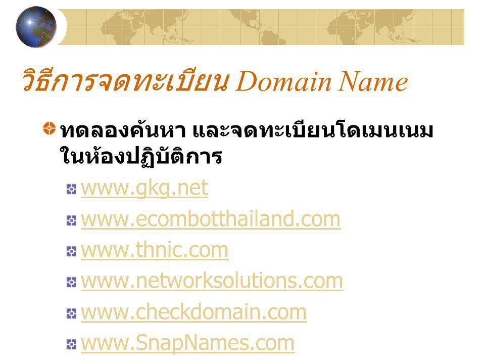 วิธีการจดทะเบียน Domain Name