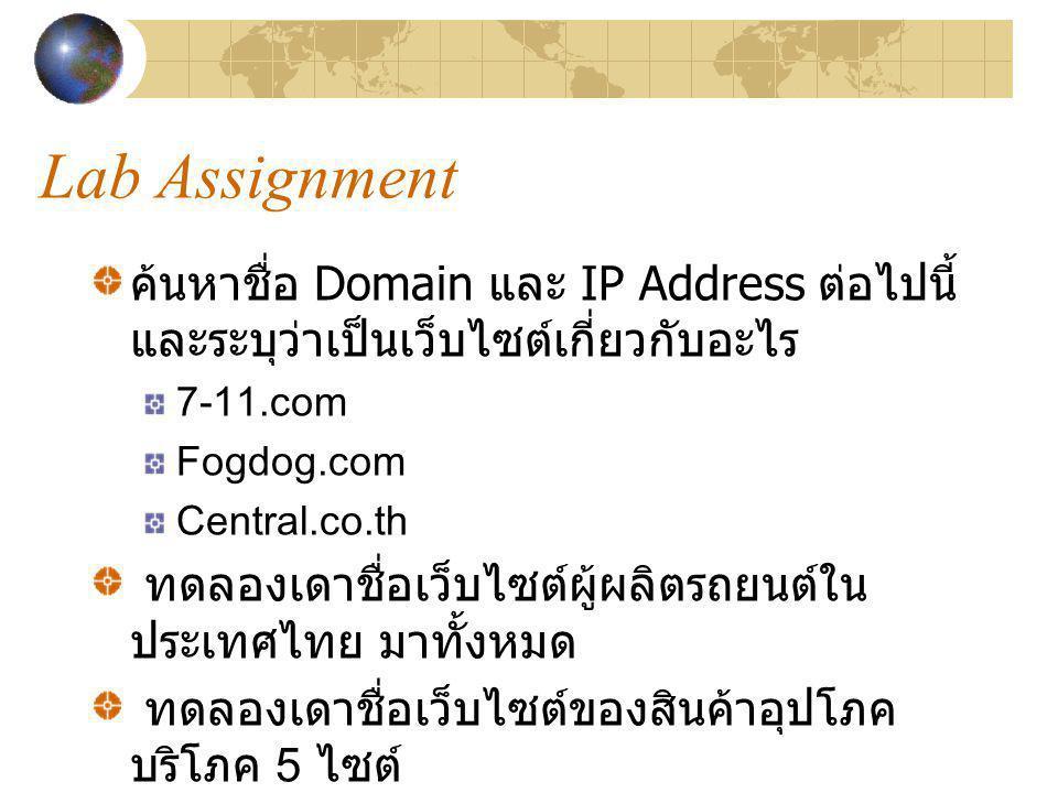 Lab Assignment ค้นหาชื่อ Domain และ IP Address ต่อไปนี้ และระบุว่าเป็นเว็บไซต์เกี่ยวกับอะไร. 7-11.com.