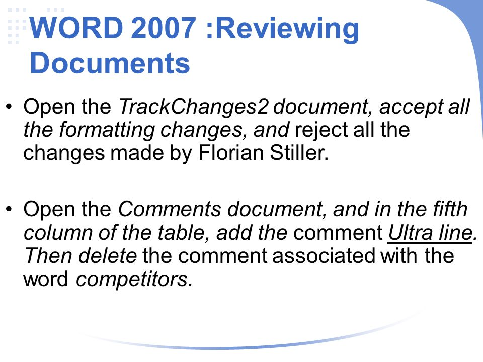 WORD 2007 :Reviewing Documents