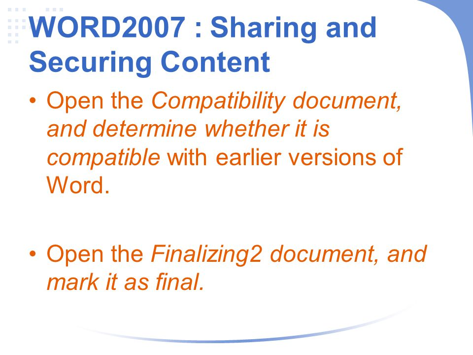 WORD2007 : Sharing and Securing Content