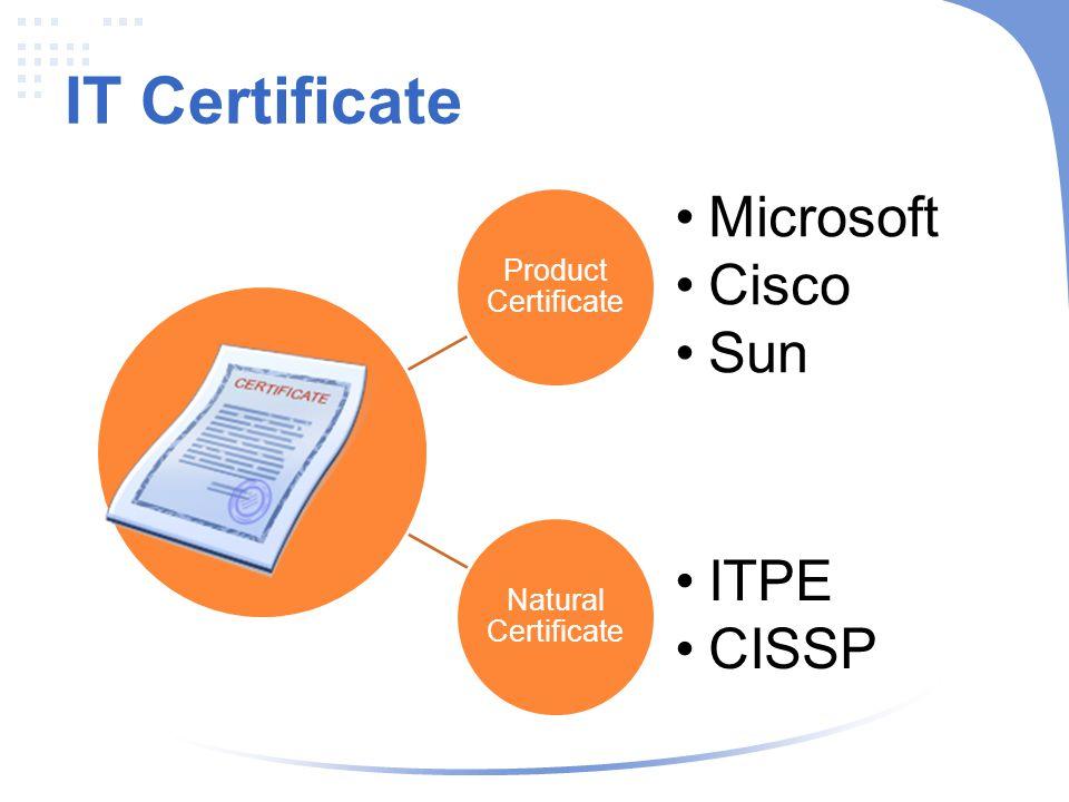 IT Certificate Microsoft Cisco Sun ITPE CISSP Product Certificate