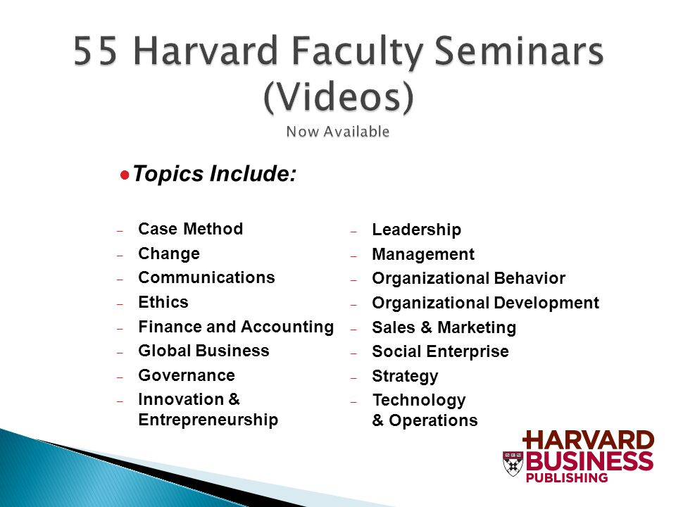 55 Harvard Faculty Seminars (Videos) Now Available