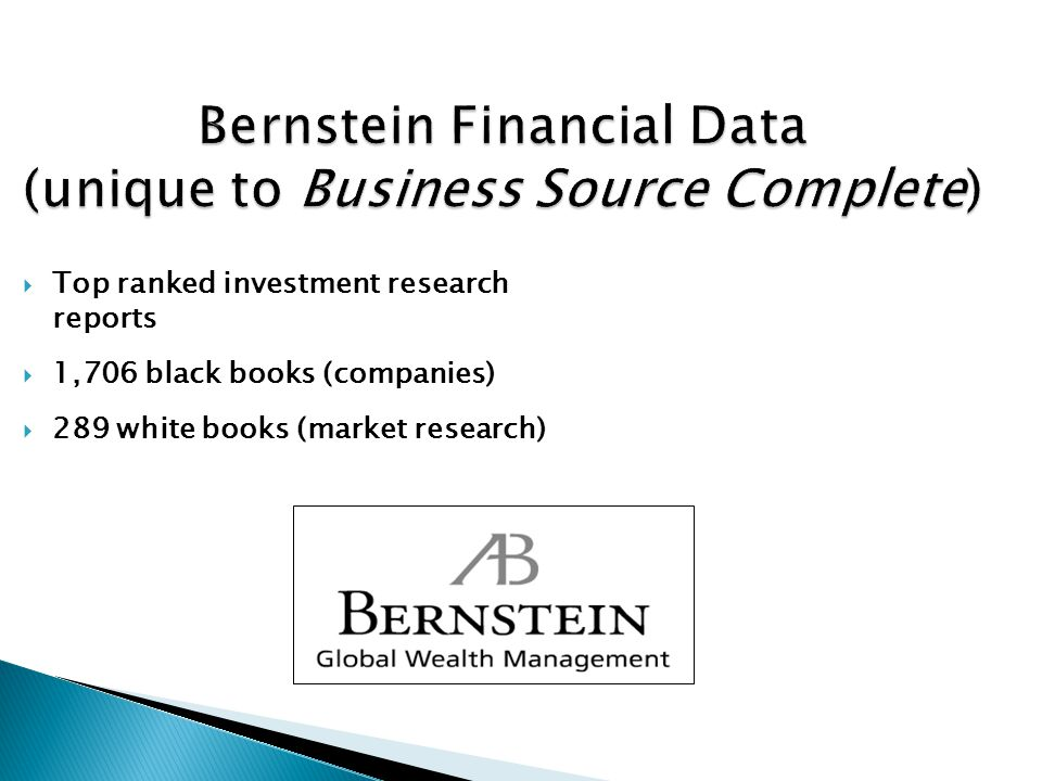 Bernstein Financial Data (unique to Business Source Complete)