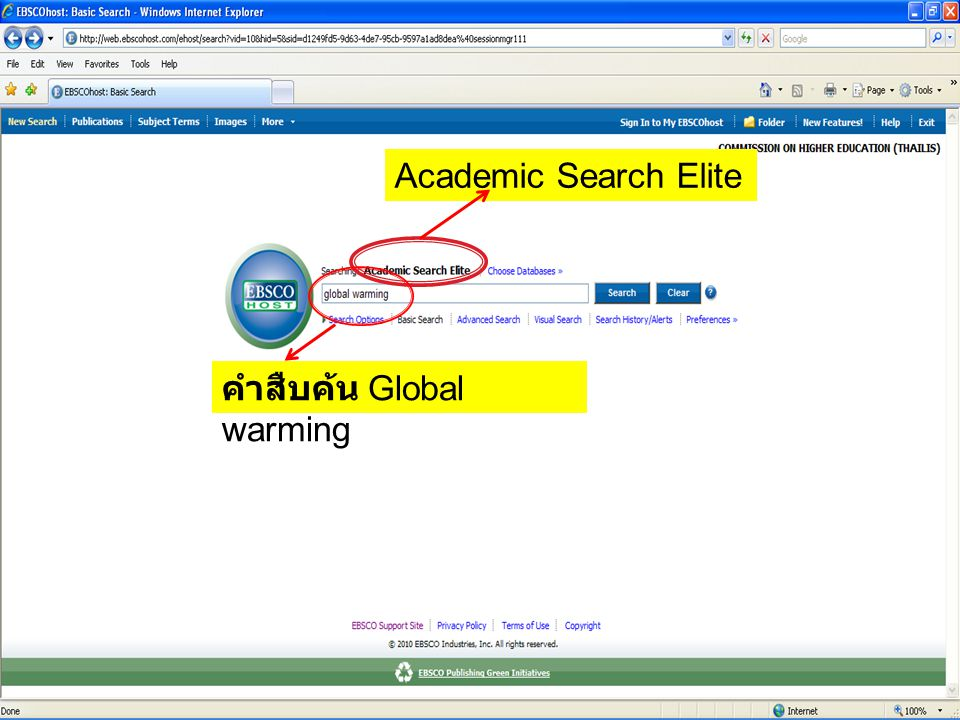 Academic Search Elite คำสืบค้น Global warming