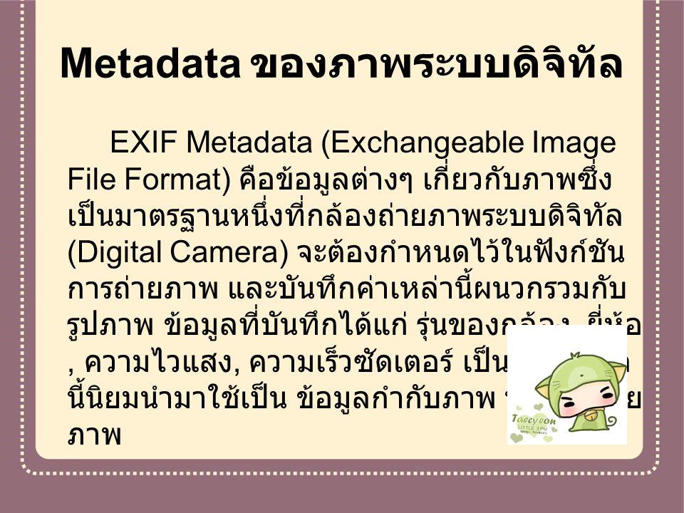 Metadata ของภาพระบบดิจิทัล