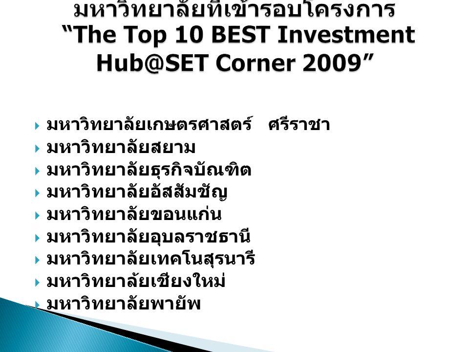 มหาวิทยาลัยที่เข้ารอบโครงการ The Top 10 BEST Investment Hub@SET Corner 2009