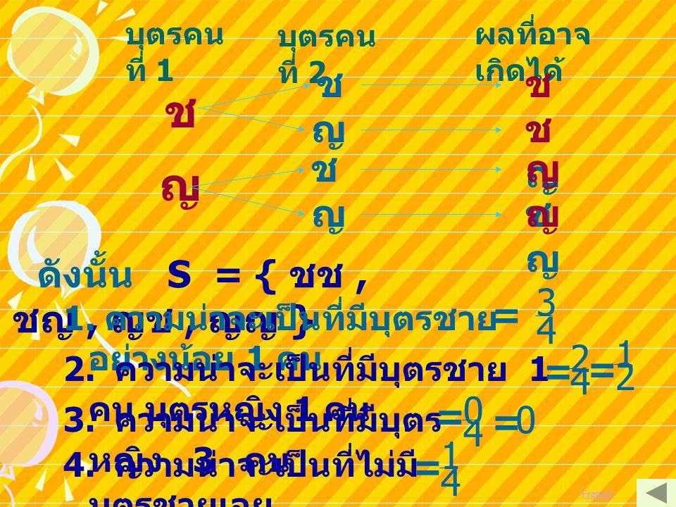 ช ญ ช ชช ญ ชญ ช ญช ญ ญญ 3 = 4 1 2 = = 2 4 = = 4 1 = 4