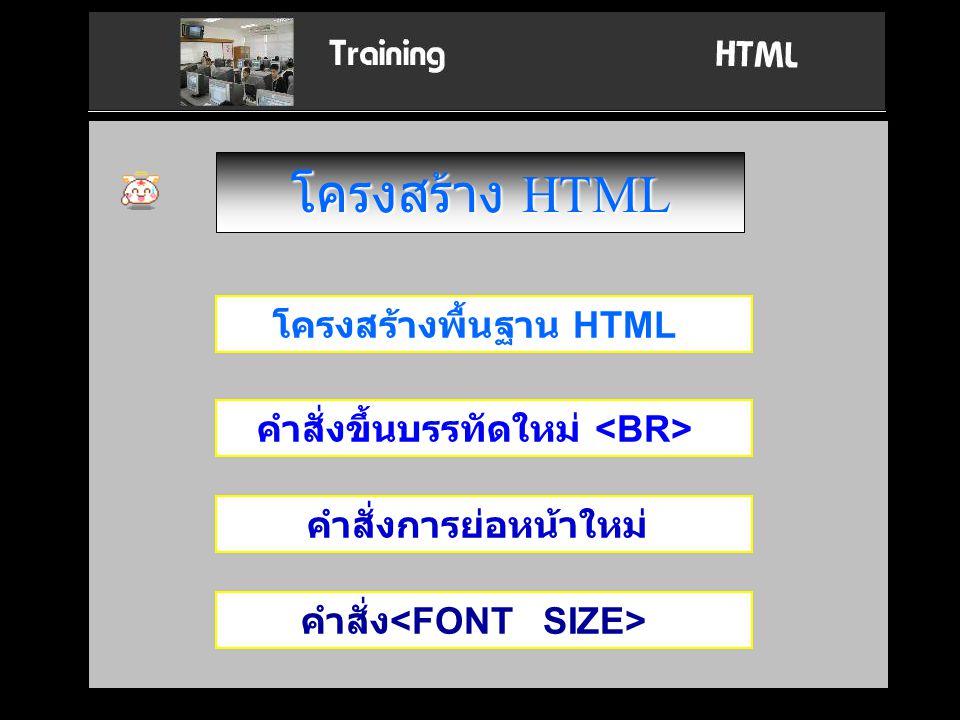 โครงสร้าง HTML โครงสร้างพื้นฐาน HTML คำสั่งขึ้นบรรทัดใหม่ <BR>