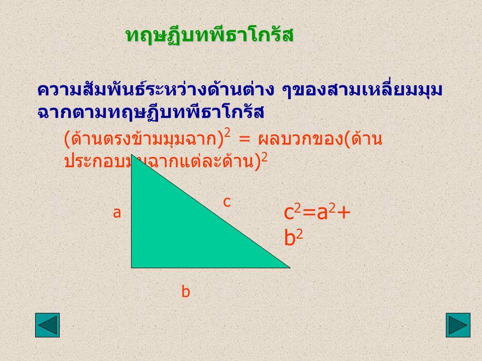 c2=a2+b2 ทฤษฏีบทพีธาโกรัส