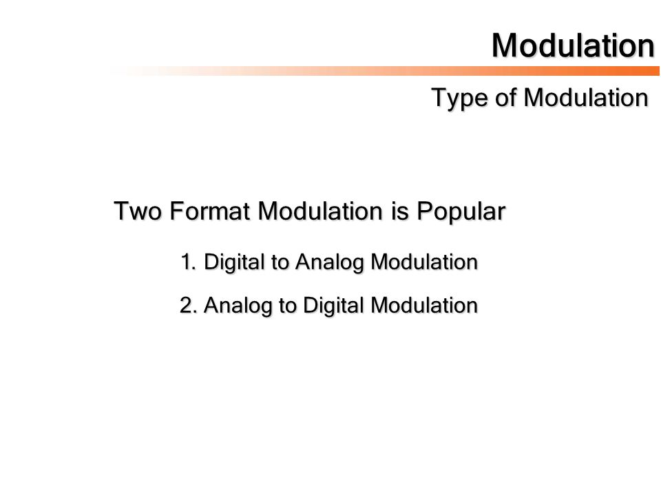 Modulation Type of Modulation Two Format Modulation is Popular