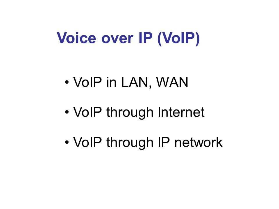 Voice over IP (VoIP) VoIP in LAN, WAN VoIP through Internet