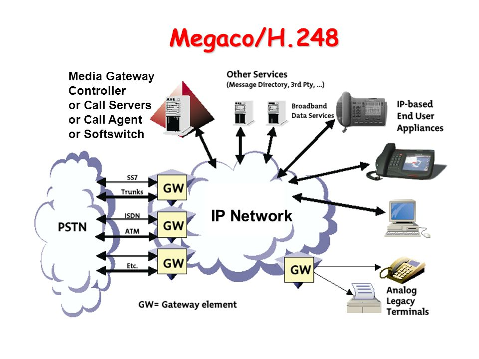 Megaco/H.248 IP Network Media Gateway Controller or Call Servers