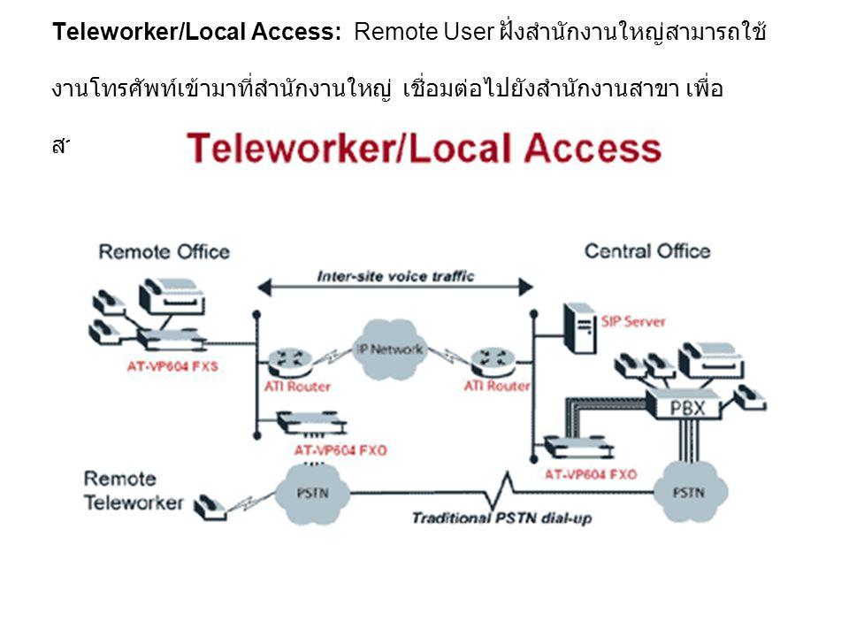 Teleworker/Local Access: Remote User ฝั่งสำนักงานใหญ่สามารถใช้งานโทรศัพท์เข้ามาที่สำนักงานใหญ่ เชื่อมต่อไปยังสำนักงานสาขา เพื่อสามารถใช้งานโทรศัพท์ในพื้นที่ของสำนักงานสาขาได้