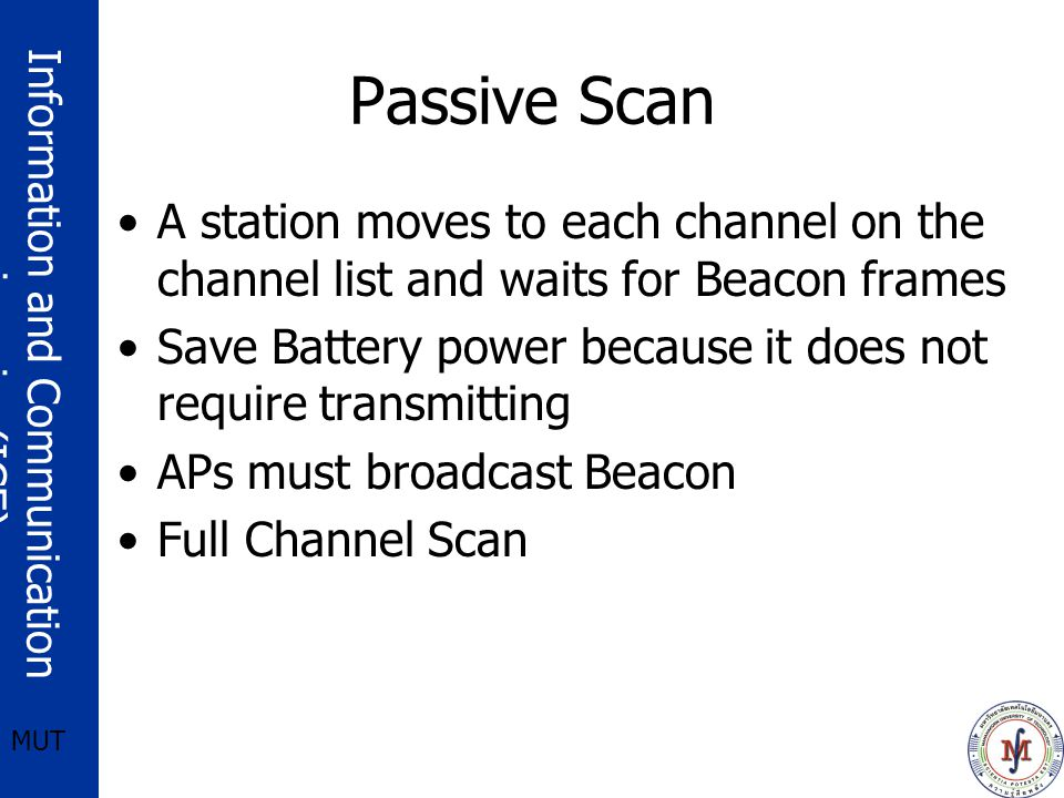 Passive Scan A station moves to each channel on the channel list and waits for Beacon frames.