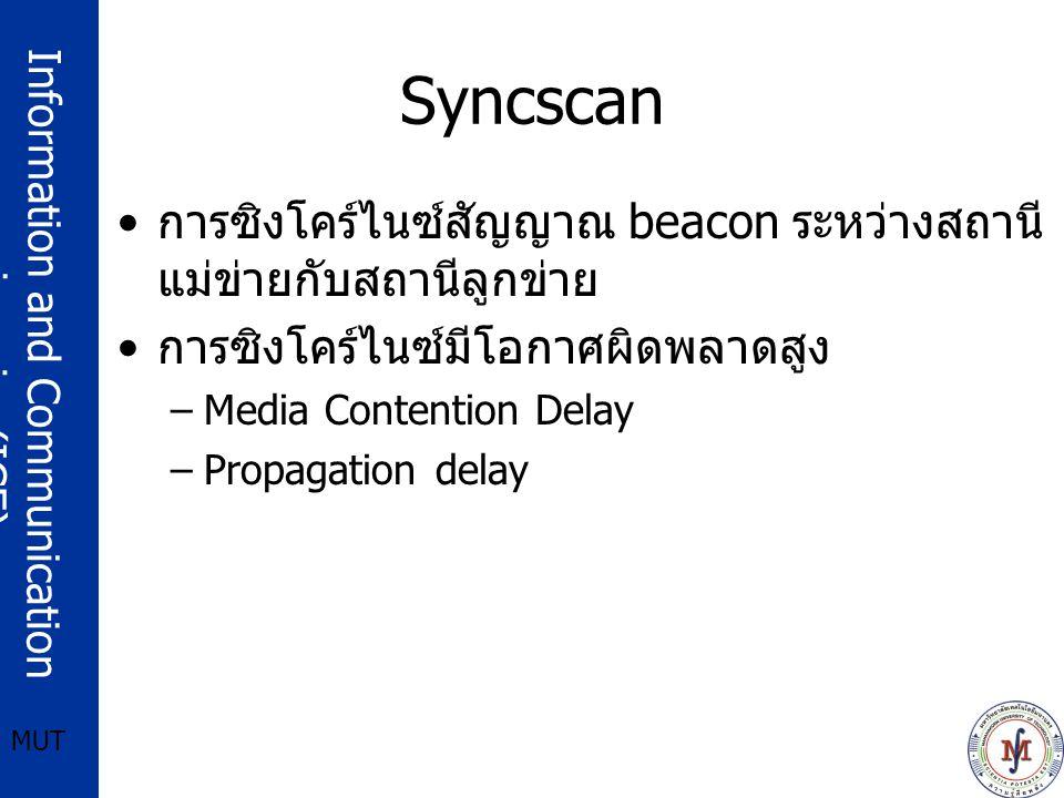 Syncscan การซิงโคร์ไนซ์สัญญาณ beacon ระหว่างสถานีแม่ข่ายกับสถานีลูกข่าย. การซิงโคร์ไนซ์มีโอกาศผิดพลาดสูง.