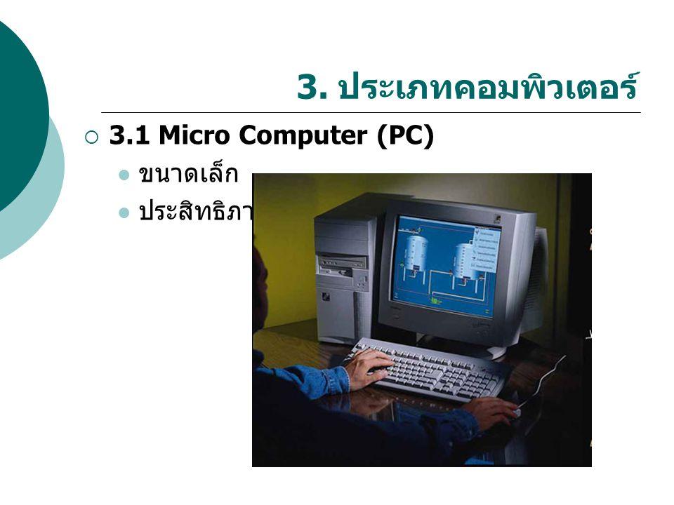 3. ประเภทคอมพิวเตอร์ 3.1 Micro Computer (PC) ขนาดเล็ก ประสิทธิภาพสูง