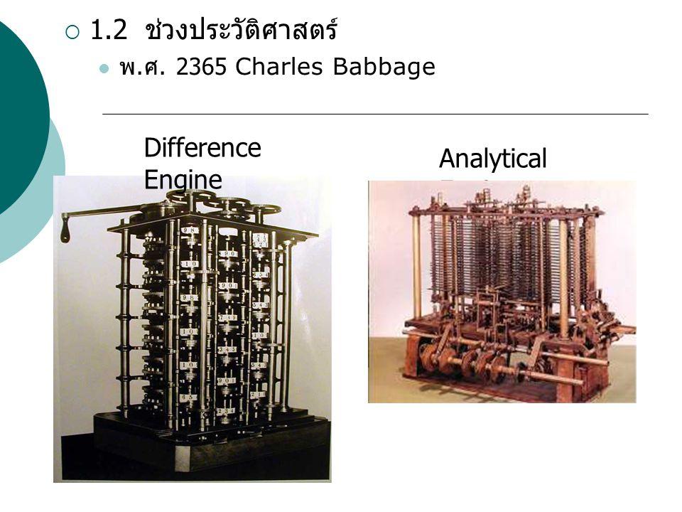 1.2 ช่วงประวัติศาสตร์ Difference Engine Analytical Engine