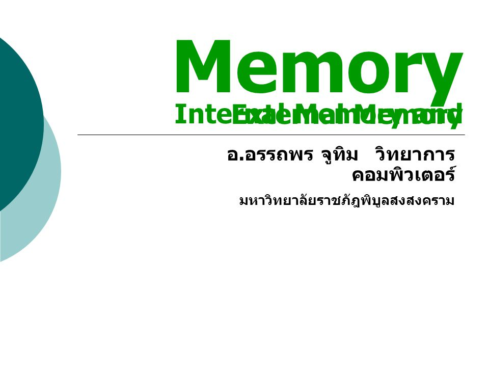 Memory Internal Memory and External Memory
