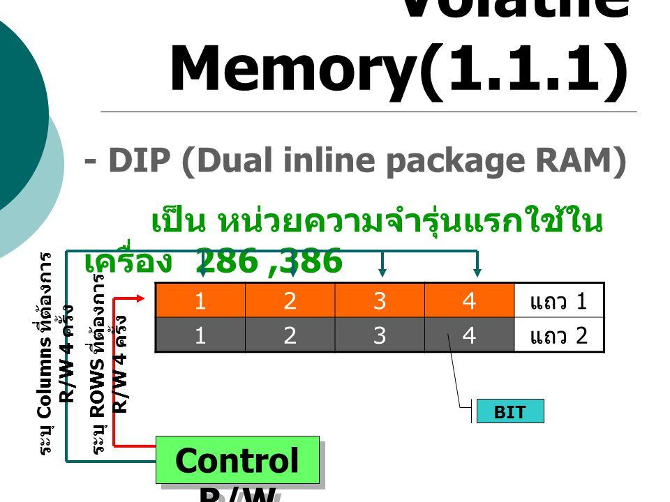 ระบุ Columns ที่ต้องการ R/W 4 ครั้ง ระบุ ROWS ที่ต้องการ R/W 4 ครั้ง