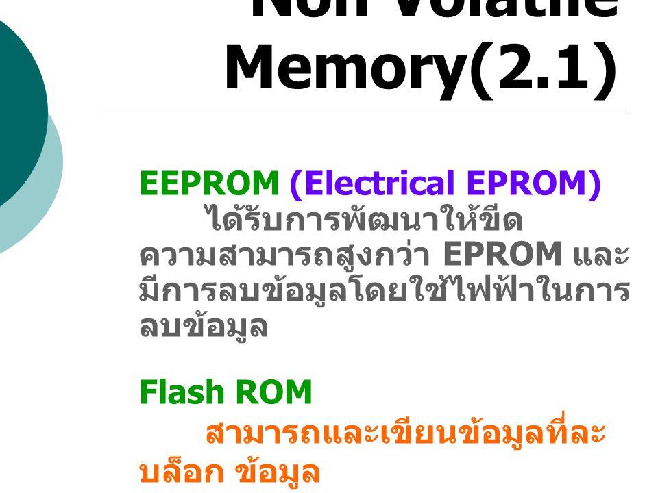Non Volatile Memory(2.1) EEPROM (Electrical EPROM)