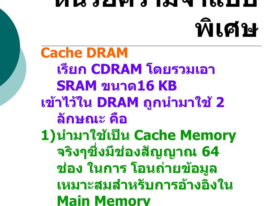 หน่วยความจำแบบพิเศษ Cache DRAM เรียก CDRAM โดยรวมเอา SRAM ขนาด16 KB