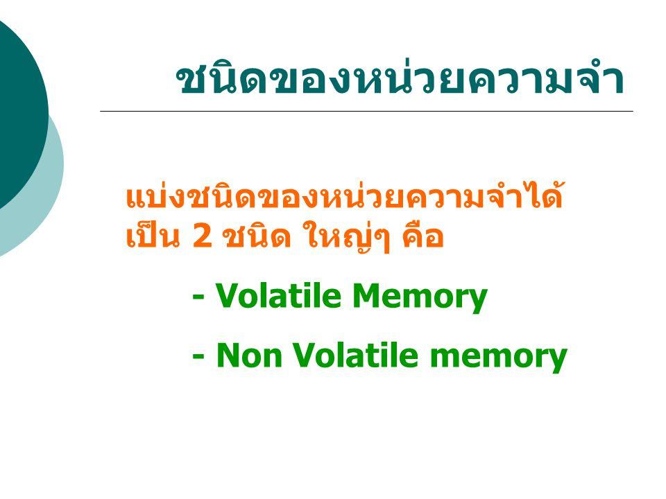 ชนิดของหน่วยความจำ แบ่งชนิดของหน่วยความจำได้ เป็น 2 ชนิด ใหญ่ๆ คือ