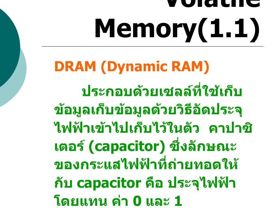 Volatile Memory(1.1) DRAM (Dynamic RAM)